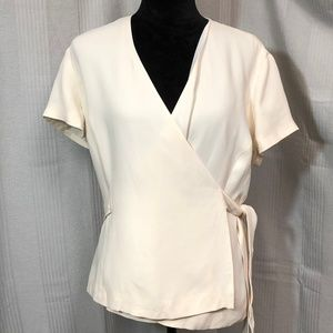 TALBOTS PURE SILK CREAM COLORED LINED WRAP BLOUSE